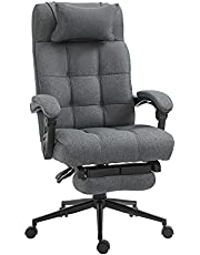 Vinsetto Executive Linen-Feel Fabric Office Chair High Back Swivel Task Chair with Upholstered Retractable Footrest, Headrest and Padded Armrest