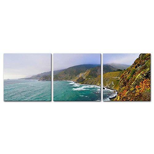 3 Pieces Modern Canvas Painting Wall Art The Picture For Home Decoration Scenic Vista California State Route 1 Coastlines America Seascape Coast Print On Canvas Giclee Artwork For Wall Decor