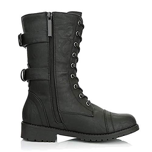 Minetom Femmes Bottines Militaire Fermeture Éclair Lacets Bottes de Combat Automne Hiver Chelsea Bottes Chaussures… 5