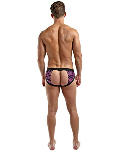 Male Power Panel Jock with Cut Out in Back, Small/Medium, Purple