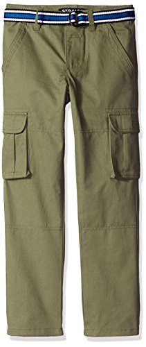French Toast Little Boys' Belted Cargo Pant, Cadet Green, 7