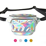 iYoway Waterproof Shiny Neon Fanny Bag for Women Shiny Holographic Fanny Pack Bum Bag waist bag- one bag for many uses (Silver)