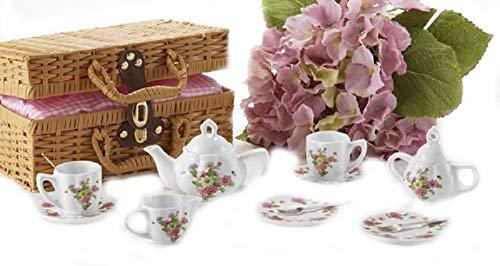 Porcelain Tea Set in Basket, Multi Daisy Delton Products 8118-4