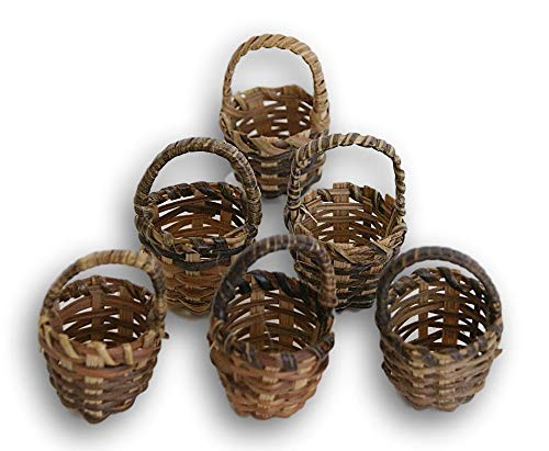 Craft Supply Group of 6 Adorable Hand Woven Round Ultra Miniature Baskets with Handles