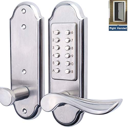 Right Handed Keyless Mechanical Door Lock Digital Combination Security Keypad Entry Lock Stainless Steel 304 for Wood Metal Plastic Door-NOT a Deadbolt & Need to Drill Additional 4 Holes