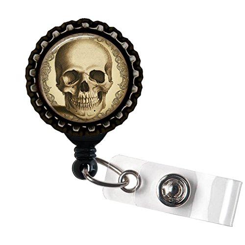 Antique Steampunk Skull Black Retractable ID Tag Badge Reel by Geek Badges ()