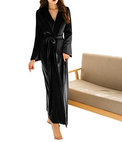 ong Bathrobe Fuzzy Velvet Warm Robes For Winter Plush Shawl (Black Velvet Robes)