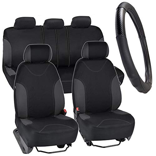 BDK Seat Saver Series Plus - Car Seat Covers for Automotive Protection with Carbon Fiber/Synthetic Leather Steering Wheel Cover