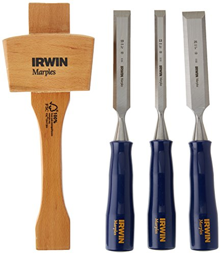 IRWIN Tools 1788114 4-Piece Woodworking Chisel Set (1/2-inch, 3/4-inch, 1-inch and Mallet) (1788114)
