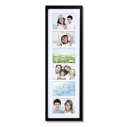 Adeco 6 Openings Decroative Black Wood Wall Hanging Family Picture Photo Frame with White Mat - Made to Display Six 4x6 Photos