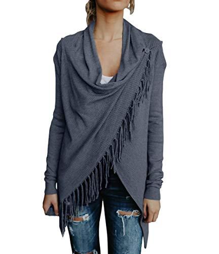 Yacooh Womens Open Front Cardigan Sweaters Knit Cowl Neck Long Sleeve  Tassel Shawls b13313057