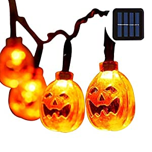 Halloween Pumpkin String Lights Eurus Home 20 ft 30 LED Halloween Lights | Solar Powered Pumpkin Lights with 8 Lighting…
