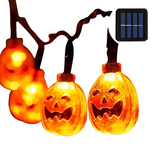 Halloween Pumpkin String lights 20 LEDs 16ft,Solar Powered Jack-O-Lantern Festival Decorative Lights for Indoor/Outdoor Patio,Parties(IP65 Waterproof,8 Light Modes,Warm White)