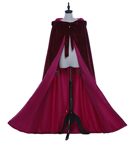 Vong ping Hooded Cloak Long Velvet Cape for Christmas Halloween Red Robe Cosplay (Burgundy Red -Rose, Small) ()