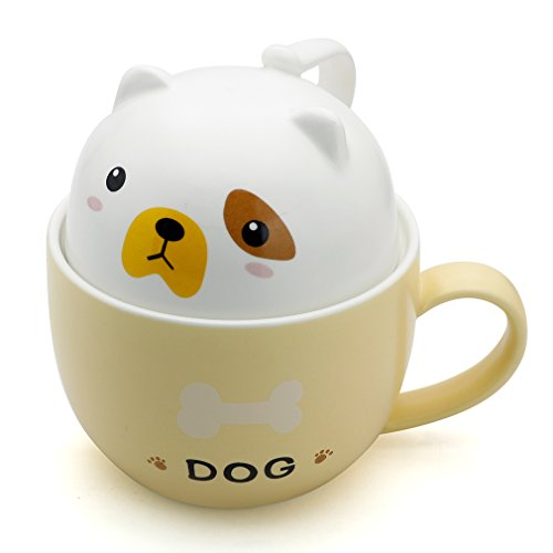 Teagas Cute Funny Ceramic Dog Coffee Mug Cup, Gift for Friend Sisters Children