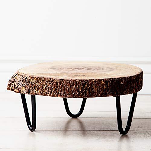 Indochine Maison Acadian Bark Pedestal (Large), Live Edge Wooden Bark Pedestal, Plant Stand, Beverage Holder, Center Piece