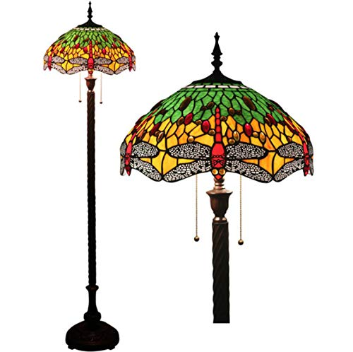 GDLight Tiffany Style Reading Floor Lamp Stained Glass Green Yellow Dragonfly Floor Lamp with Antique Base for Bedroom Living Room