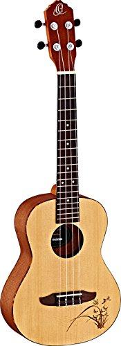 (Ortega Guitars 4-String Bonfire Series Tenor Ukulele with Tortoise Binding and Laser Etching Right (RU5-TE)