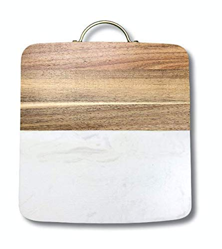 Cheese Home Board Kitchen (MARBLE AND WOOD DECORATIVE CHEESE CUTTING BOARD | CUSTOM BRASS HANDLE | KITCHEN DÉCOR | HOME DECOR)