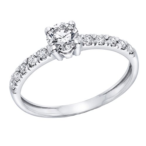 1/2 cttw IGI Certified Diamond Engagement Ring in 14K White Gold 1/2 cttw JK Color I1I2 Clarity  Size 7
