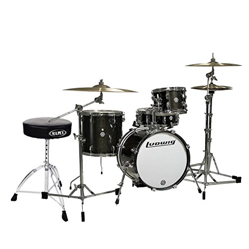 Ludwig Breakbeats by Questlove 4-Piece Shell Pack Black Sparkle Chrome Hardware with Tama HT130 Standard Double Braced Leg Throne ()