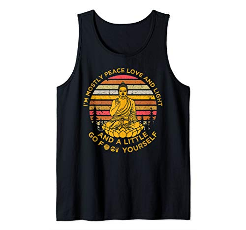 Im Mostly Peace Love And Light Yoga Meditation Buddha Shirt Tank ()