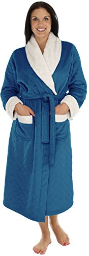 PajamaMania Women's Plush Fleece Luxury Heavy Weight Long Robe Navy (PML40P2030-LRG)