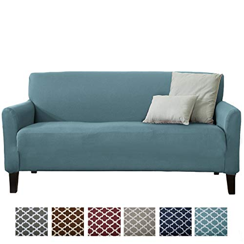 Home Fashion Designs Printed Stretch Sofa Furniture Cover Slipcover Brenna Collection, Smoke Blue - Solid