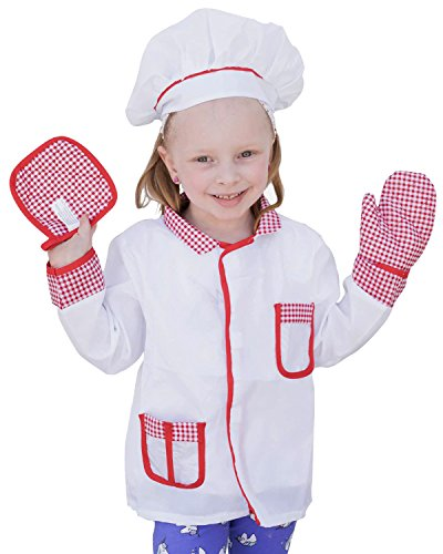 4Pcs Kids Chef Role Play Costume Set fedio Chef Dress up Set for Children(Ages 2-4) (Red gingham) Girl Costume Dress Hat Apron