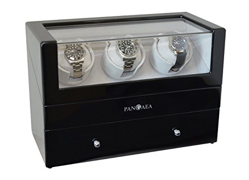 Pangaea T350 Triple Automatic Watch Winder with Drawer - Black