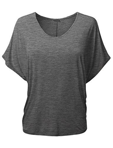 Doublju Women Short Sleeve Solid Basic Dolman T-Shirt Charcoal L