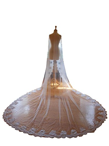kelaixiang Cathedral Wedding Veil with Chantilly Lace Edge veils for bride (Ivory, (Chantilly Lace Veils)