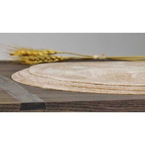 Ultra Thin Crust Whole Wheat Round Par Baked Pizza Shell Flatbread, 16 inch -- 50 per case.
