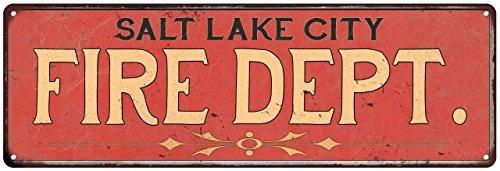 SALT LAKE CITY FIRE DEPT. Vintage Look Metal Sign Chic Decor Retro - City Lake In City Creek Salt