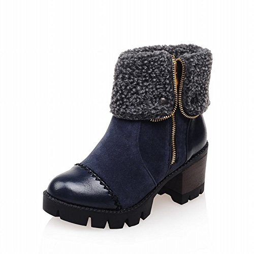 Women's Zipper Faux Fur Warm Winter Contrast Stitching Fashion Retro Mid Heel Short Boots