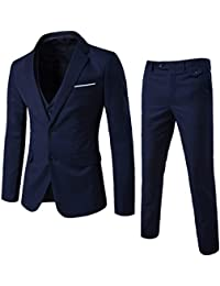 Men's Two Button Notch Lapel Slim Fit 3-Piece Suit Blazer Jacket Tux Vest & Trousers Set