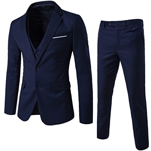 WEEN CHARM Mens Two Button Notch Lapel Slim Fit 3-piece Suit Blazer Jacket Tux Vest & Trousers Set,Navy,Large ()
