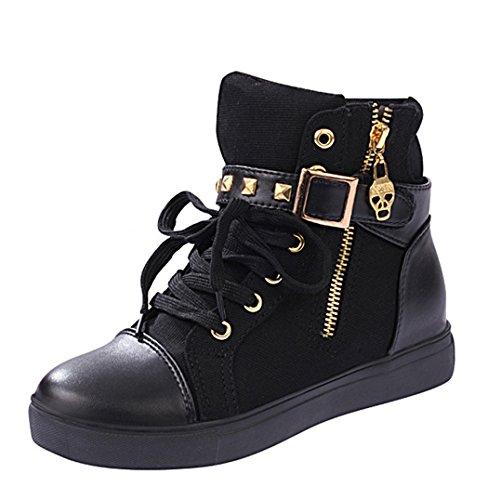 High Tm Pour Femme Lacets À Chaussures Mort De Fermeture Increat Tête Top Sneaker Wedge Imayson Éclair Noir MqSUpzVG
