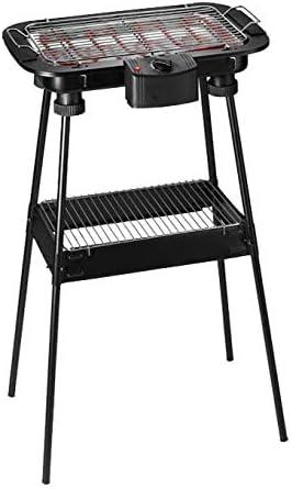 Bastilipo BBQ-2000P BBQ-2000P-Barbacoa electrica de Exterior-con patas-2000W de Potencia y Parrilla de 47 x 35cm-Barbacoa sin Humo-Fácil de Limpiar-2 Niveles de Altura y Bandeja recoje Grasas, Negro
