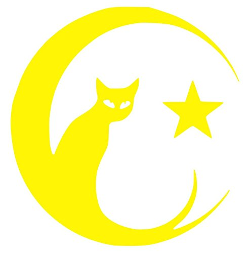 Cat on the Moon Sticker Decal (12''x12'', Yellow)