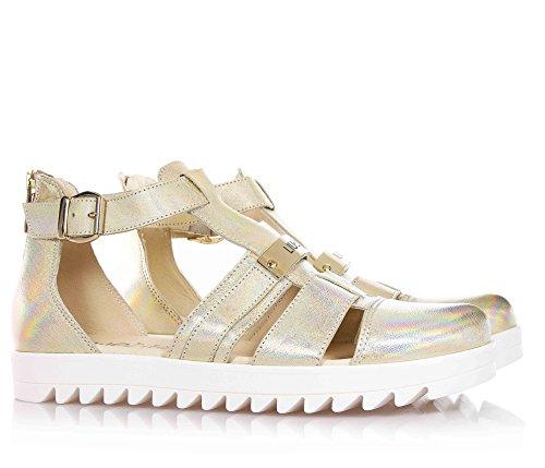 LIU JO - Goldene Sandale aus Leder, mit Schnallenverschluss, hinten ein Reißverschluss, Mädchen-40