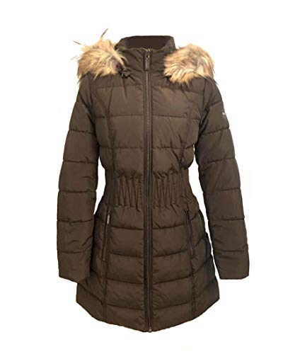 Laundry by Shelli Segal Windbreaker Faux Fur Trim Cinched Waist Puffer Coat Taupe (S)