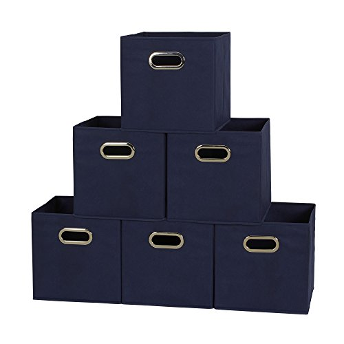 Household-Essentials-81-1-Foldable-Fabric-Storage-Cubes-Set-of-6-Cubby-Bins-with-Handles-Navy-Blue