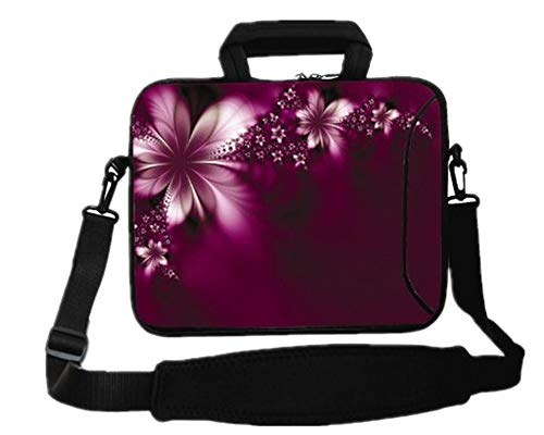 RICHEN 14 15 15.4 15.6 inch Messenger Bag Carring Case Sleeve with Handle Accessory Pocket Fits 14 to 15-Inch Laptops/Notebook/ebooks/Kids Tablet/Pad (14-15.6 inch, Flowers) (Notebook Laptop Accessories)