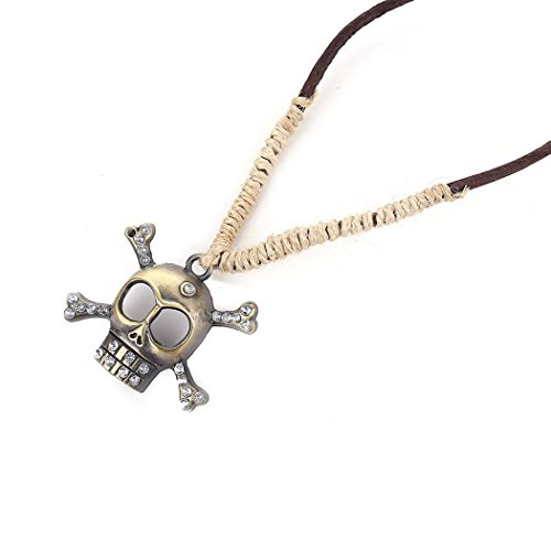 [MORE FUN Punk Skull Leather Rope Necklace Vintage Alloy Copper Color Crossbone Pendant with CZ] (Oriole Bird Costume)