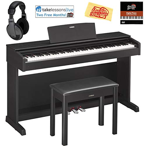 Yamaha YDP-143B Arius Console Digital Piano - Black Bundle with Furniture Bench, Headphones, Austin Bazaar Instructional DVD, and Polishing Cloth