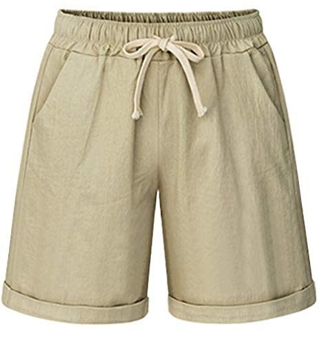 HOW'ON Women's Elastic Waist Casual Comfy Cotton Beach Shorts with Drawstring Khaki -