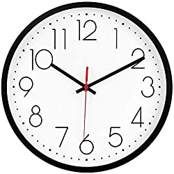 JoFomp Modern Wall Clock, 12 Upgrade Silent Wall Clocks Battery Operated Non-Ticking Quiet Decorative Wall Clocks for Living Room, Bathroom, Kitchen - Thicken Plastics Frame Glass Cover (Black)