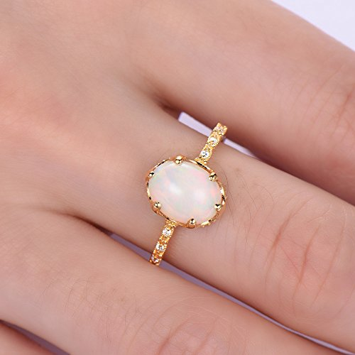 Oval Cut Opal Engagement Ring 925 Sterling Silver Yellow Gold Plated Solitaire CZ Diamond Promise Gift by Milejewel Opal Engagement Ring (Image #5)