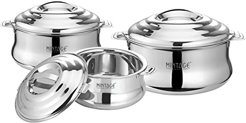 Mintage Stainless Steel Hot Case Casserole with Handle and Lock  Small, Medium, Large